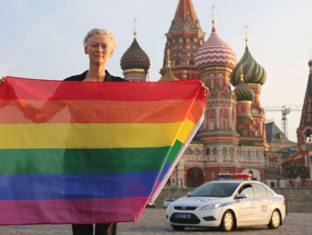 Tilda Swinton risking imprisonment in Moscow